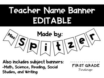 EDITABLE Teacher Name Banner