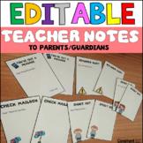 EDITABLE Teacher Notes to Parents
