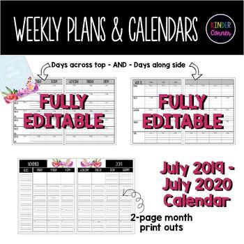 EDITABLE Teacher Planner 2019-2020 – Watercolor Flower Theme