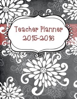 EDITABLE Teacher Planner Black & White Chalkboard Flowers BTS