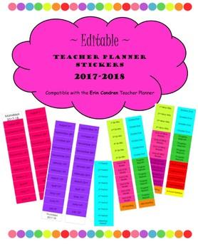 EDITABLE Teacher Planner Labels compatible with Erin Condren (2017-18 Dates)