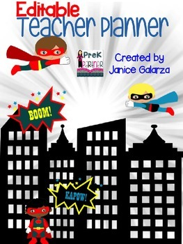 EDITABLE Teacher Planner - Super Heroes Inspired