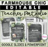 EDITABLE Teacher Portfolio Templates | Farmhouse Chic Theme
