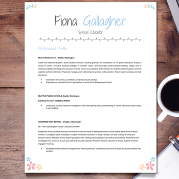 EDITABLE Teacher Resume Template Cover Letter And References FLORAL 2