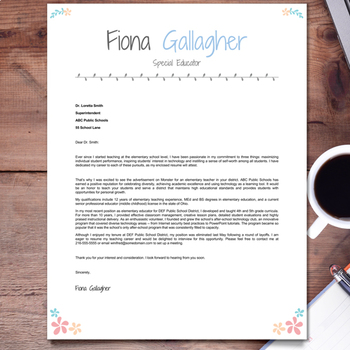 EDITABLE Teacher Resume Template + Cover Letter and References (FLORAL 2)
