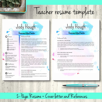 EDITABLE Teacher Resume Template for PowerPoint and Google Slides - Watercolor