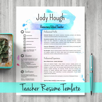 Editable Teacher Resume Template For Powerpoint And Google Slides Watercolor