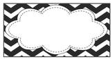 EDITABLE Teacher Toolbox Labels- Black and White Chevron