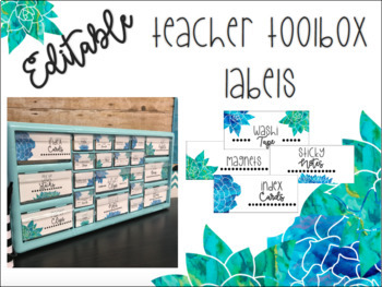 EDITABLE Teacher Toolbox Labels: Blue and Green Watercolor Floral