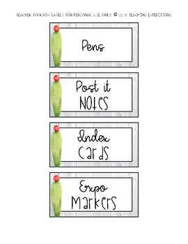 Cactus Teacher Toolbox Labels- EDITABLE