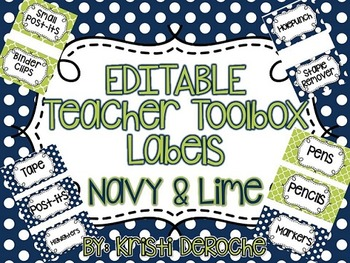 EDITABLE Teacher Toolbox Labels- Navy and Lime Green