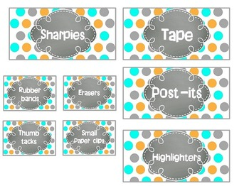 EDITABLE Teacher Toolbox Labels- Orange, Turquoise, and Gray