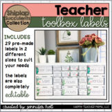 EDITABLE Teacher Toolbox Labels (Shiplap & Succulents)
