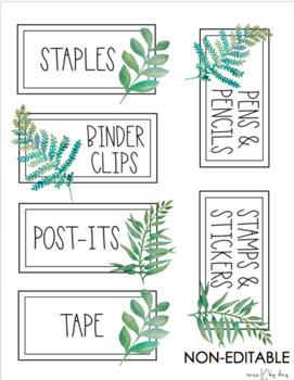 EDITABLE Teacher Toolbox Labels (Watercolor Greenery/Farmhouse)