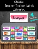 Watercolor Teacher Toolbox Labels- EDITABLE