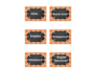 EDITABLE Teacher Toolbox Labels- Yellow, Red, Orange