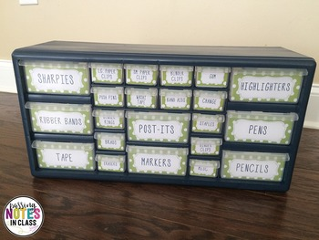 EDITABLE Teacher Toolbox - Navy and Lime Green Polka Dots