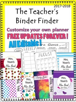 EDITABLE Teacher's Binder Finder 2018