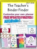 EDITABLE Teacher's Binder Finder 2018