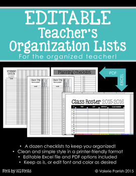 EDITABLE Teacher's Organization Lists