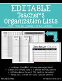 EDITABLE Teacher's Organization Lists