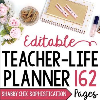EDITABLE Teacher/Life Planner for UPPER Grades: Shabby Chic Sophistication
