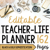 Teacher/Life Planner for UPPER Grades: Black & Gold Sophis