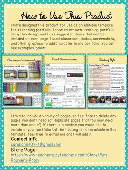 Editable teaching portfolio template blue yellow by mrs for Teaching portfolio template free