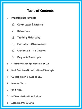 EDITABLE Teaching Portfolio Template (Blue)