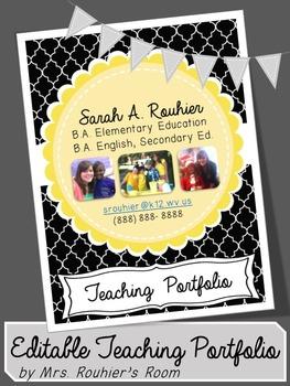 Editable Teaching Portfolio Template Black White