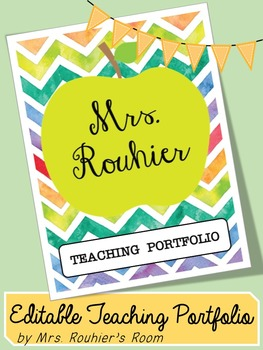 Editable teaching portfolio template colorful chevron by for Teaching portfolio template free