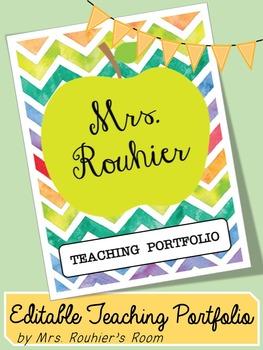 Teaching portfolio cover teaching resources teachers pay teachers editable teaching portfolio template colorful chevron maxwellsz