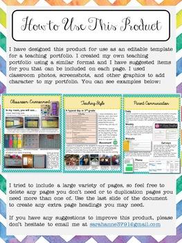 EDITABLE Teaching Portfolio Template (colorful chevron) by Mrs ...