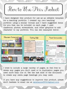 EDITABLE Teaching Portfolio Template (elegant gray)