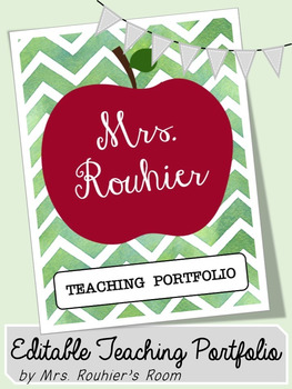 EDITABLE Teaching Portfolio Template (red apple)