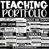 EDITABLE Teacher Portfolio  (Interview Portfolio with Teacher Resume Template)