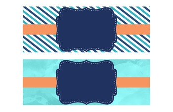 """EDITABLE Teal, Coral & Navy Labels for 4.5""""x12.5"""" Drawers"""