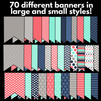 EDITABLE Teal, Pink, Gray, and Navy Banner Set