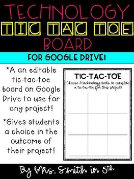 EDITABLE Technology Tic Tac Toe Board for Google Drive