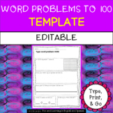 EDITABLE - Template for Word Problems up to 100