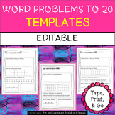 EDITABLE - Template for Word Problems up to 20