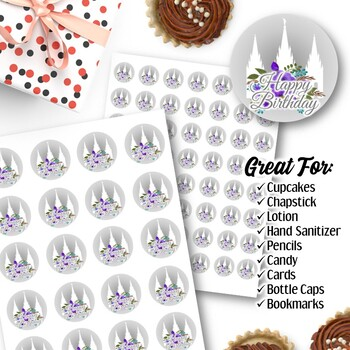 EDITABLE Temple Birthday Stickers - Instant Download