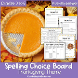 EDITABLE Thanksgiving Spelling Choice Menu