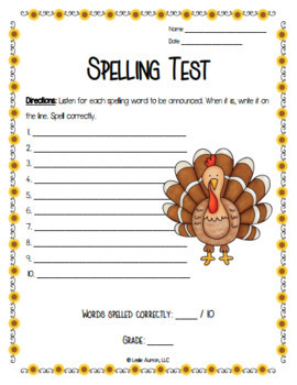 EDITABLE Thanksgiving Spelling Choice Board