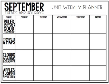 EDITABLE Theme and Holiday Unit Planner (Monthly and Weekly)