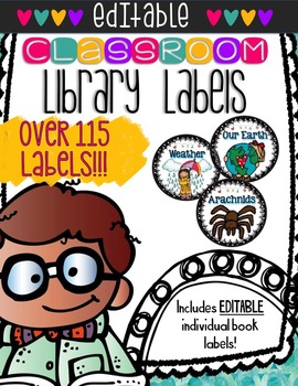EDITABLE Themed Book Bin Labels With Individual Basket
