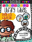 EDITABLE Themed Book Bin Labels with Individual Book Label