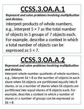 EDITABLE Third Grade Math Common Core Standards flip book