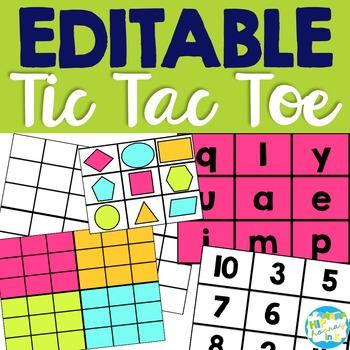 EDITABLE Tic Tac Toe