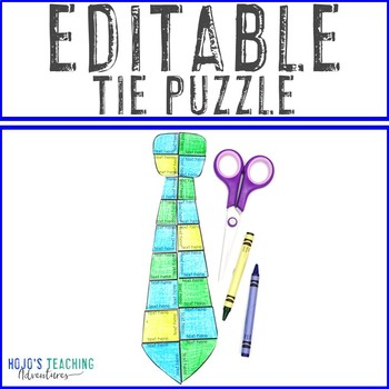EDITABLE Tie Puzzle - Great to create your own Father's Day Tie Activity!